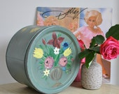 Romantic folk art tin with hand painted flowers - SALE