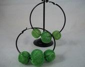 Large Black Hoop Earrings with Lime Green Beads