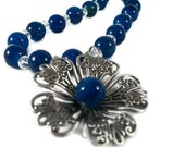 Gorgeous Blue Agate, Crystal and Flower Necklace