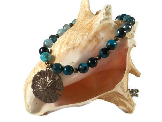 Seafoam Agate and Brass Sand Dollar Necklace