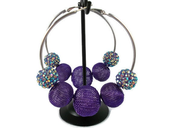 Large Silver Hoop Earrings with Purple Beads and Purple Crystals