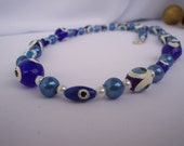 Blue Eyes Necklace White and Cobalt