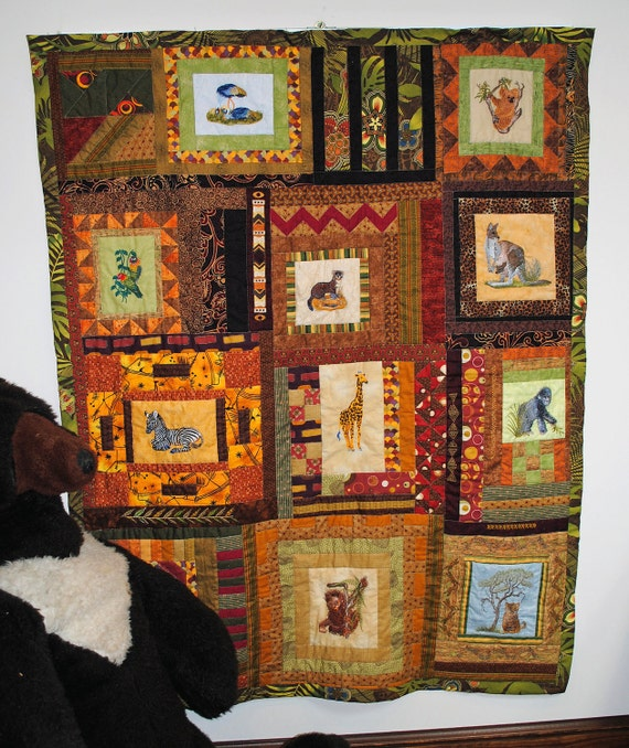 Baby quilt, pieced, jungle babies