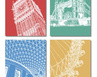 London Postcards of Iconic Buildings – Set of 4 with Big Ben, Tower Bridge, British Museum, London Eye.