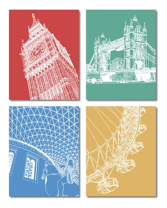 London Postcards of Iconic Buildings – Set of 4 with Big Ben, Tower Bridge, British Museum, London Eye.