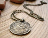 Vintage Coin Necklace - Indian Coin & Bronze Metal Chain, Nepal Tribal Pendant, Spiritual Yoga Necklace, Unisex Mens Boho