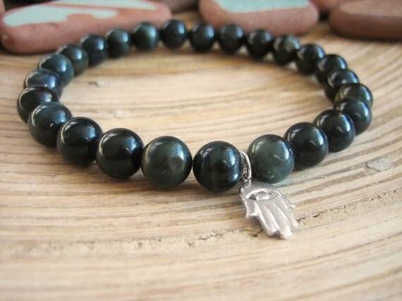 Mens Hamsa Bracelet - Evil Eye Bracelet, Blue Tiger Eye Beads and Sterling Silver Charm, Hawks Eye, Black Spiritual Bracelet