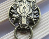 Final Fantasy Antique Brass Wolf Door Knocker Charm By