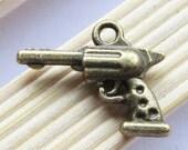 25pcs Antique Bronze Pistol Handgun Charm Pendants 3D D204-2