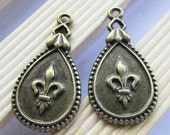 Drop Charms -15pcs Antique Bronze Victorian Rain Drop Charm Pendants 17x31mm D407-5