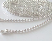32ft 10 meters of Silver Plated Brass Ball Chain Necklace Findings 1.5mm
