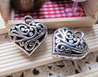 4pcs of Antique Silver 3D Filigree Flower Heart Charm Pendants 9x20x22mm A306-6