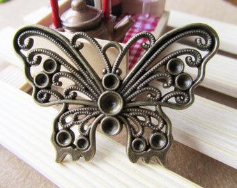 Butterfly charms -6pcs Antique Bronze Butterfly Charm Pendants 13x49mm E202-3