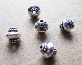 50 pcs of Antique Silver Bicone Spacer Bead Charm Pendants 7mm A309-2