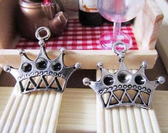 Crown Charms -15pcs Antique Silver Charm Pendants 22x25mm A103-1