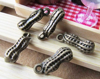 Peanuts -15pcs of Antique Bronze 3D Peanut Charm and Pendants 8x20mm B229