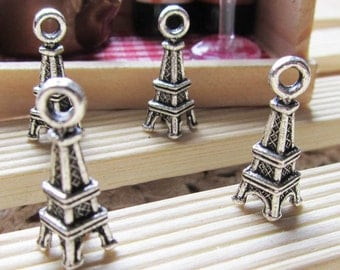 Eiffel Tower Charms -50pcs of Antique Silver 3D La Tour Eiffel Charm Pendants 7x18mm A207-3