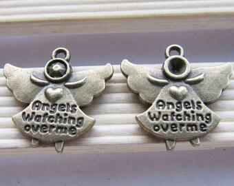 "15pcs Antique Bronze "" Angels Watching Over Me "" Charm Pendants 20x20mm C207-1"