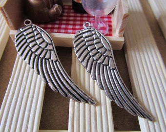 10pcs Wing Charms Antique Silver Charm Pendants 16x50mm A406-2