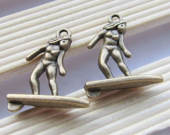 On Sale -10pcs 18x23mm Antique Bronze 3D Surfing Lady in Bikini Charm C204-3