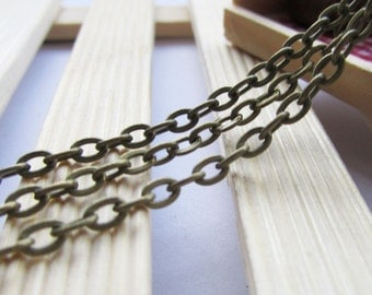 50m 3x5mm Antique Bronze Flat Oval Cable Link Chain Jewelry Findings W105