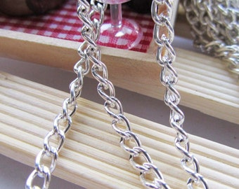 Chain - 16ft 5 Meters 4x5mm Silver Plated Twisted Cable Link Chain W107