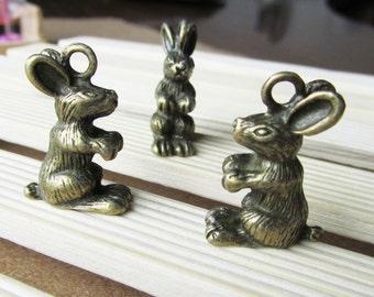 10pcs Antique Bronze 3D Bunny Rabbit Charm Pendants 16x22mm C502-4