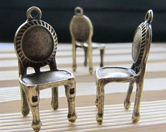 5pcs Antique Bronze Lovely 3D Chair Charm Pendants 14x30mm B507-3