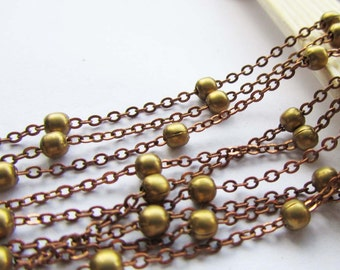 16ft - 5 meters of Antique Copper Cable Link Chain 1x2mm with 4mm Raw Brass Ball W112