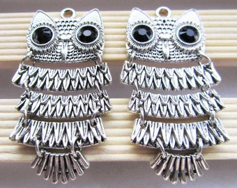 4pcs Antique Silver Jointed Owl Charm Pendant Drop Earring Findings 26x50mm A501-1