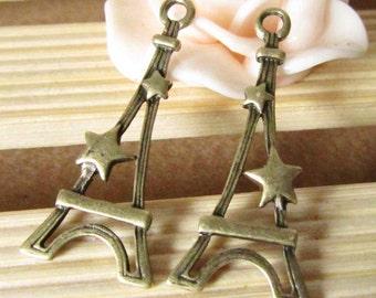 25pcs Antique Bronze Eiffel Tower Charm Pendants Tower with Stars 13x29mm B209-1