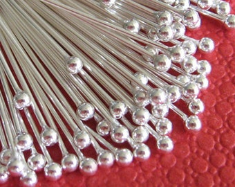200pcs Silver Plated Brass Ball End Head Pin 50mm - 24g W126