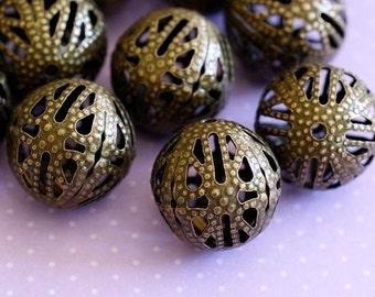 Filigree Ball Beads - 60pcs Antique Bronze Spacer Beads Charm 8mm B402-1-8