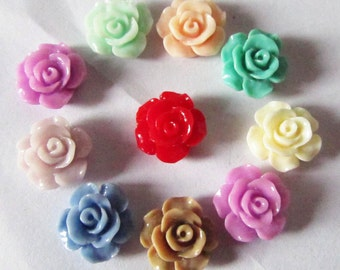 30pcs Chrysanthemum Flowers - Mixed Colors of Beautiful Resin Rose Bobby Pin Charms 13mm H302