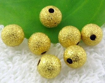 Spacer Beads -50pcs Gold Plated Stardust Sand Blasted Bead Jewelry Findings 6mm B401-4