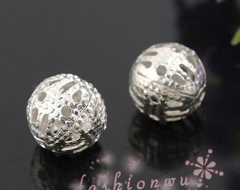 100pcs Silver Plated Ornate Filigree Spacer Beads Charm Pendant Jewelry Findings 6mm B402-4