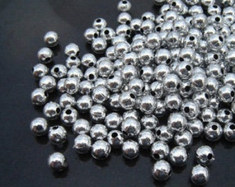 Spacer Beads -300pcs Silver Plated Round Ornate Beads Jewelry Findings 4mm B401-2
