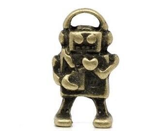 Robot Charms -25pcs Antique Bronze Musical Robots Charm Pendants 9x17mm B503-1