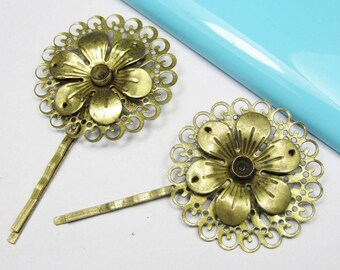 Hair Pins -10pcs Antique Bronze Filigree Flower Bobby Pin 50mm Hair Accessories BC116