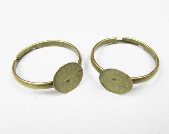 Ring Blanks Wholesale -50 Antique Bronze Adjustable Ring Base Flat Pad 8mm for Kids J4013