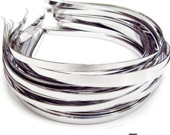 50 Metal Headbands 5mm silver color with bent end Wholesale W160