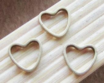 Heart shape jumprings -100pc 6x7mm Antique Bronze Brass Jumprings Jump Ring Jewelry Findings B407-3