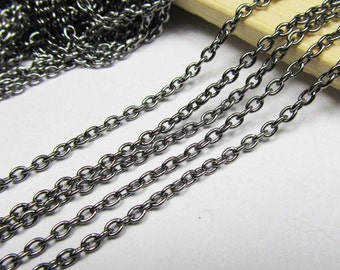 16ft 5m 3x4mm Gunmetal Black Round Cable Link Chain Jewelry Findings W166