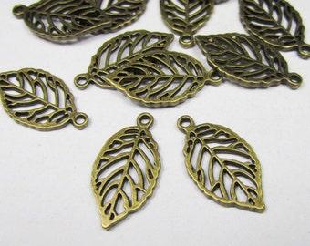 Leaf Charms -20pcs Antique Bronze Filigree Leaves Charm Pendants 14x27mm B303-3
