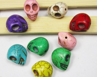 Day of the Dead Beads -15pcs Mix Color Skeleton Head Skull Turquoise Stone Charm Bead 12x12mm U132
