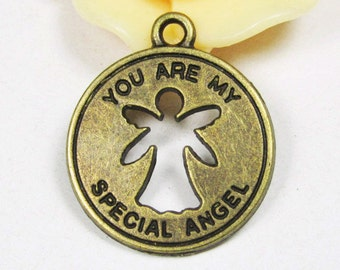 You Are My Special Angel -25pcs Antique Bronze Disc Angel Charm Pendants 19mm C409-5