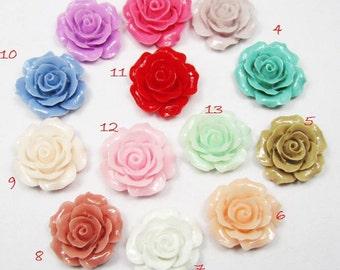Chrysanthemum Flowers -20pcs Mixed Colors Beautiful Resin Rose Bobby Pin Charm 20mm H402