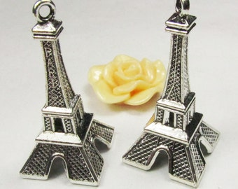 Eiffel Tower Charms -6pcs Antique Silver Large Eiffel Tower Charm Pendants 23x49mm AA401-6
