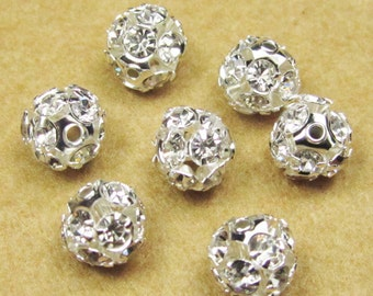 Crystal Spacer Beads -10pcs Silver Round spacers with clear crystals 8mm