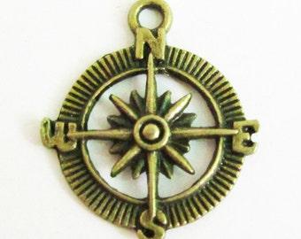 Compass Charms -20pcs Antique Bronze Filigree Compass Charm Pendants 25mm D102-2